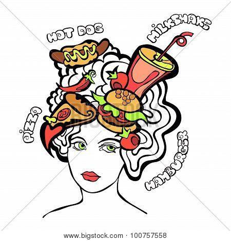 Beautiful girl with a complicated hairstyle. Fast food, hamburger, hot dog, milkshake.