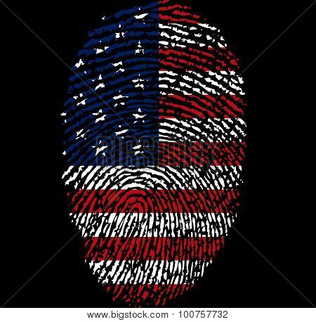 American Flag And Fingerprint