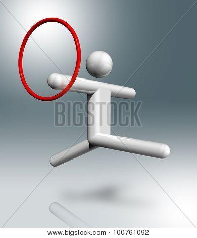 Gymnastics Rhythmic 3D Symbol, Sports