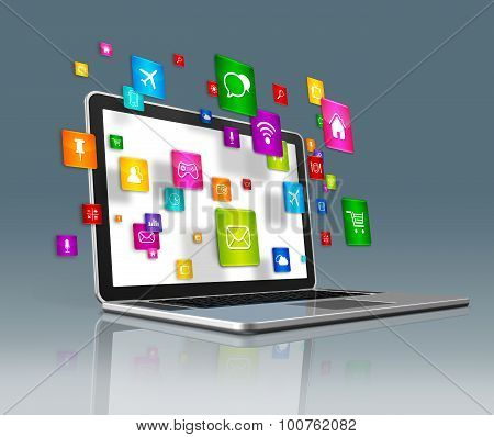 Laptop Computer And Flying Apps Icons On A Futuristic Background