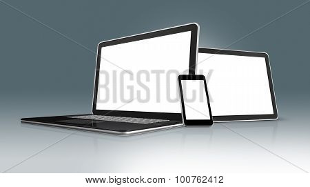 High Tech Laptop, Mobile Phone And Digital Tablet Pc