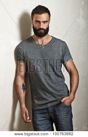 Bearded brutal man wearing grey t-shirt