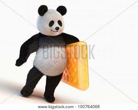 Fluffy, Fuzzy, Furry, Downy 3D Render Panda Character