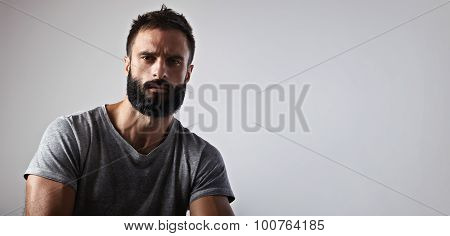 Portrait of a handsome bearded guy