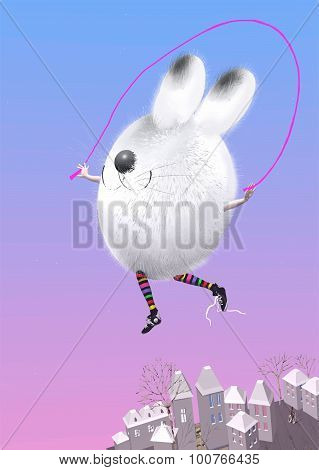 Easter Bunny With Jump Rope In The Sky