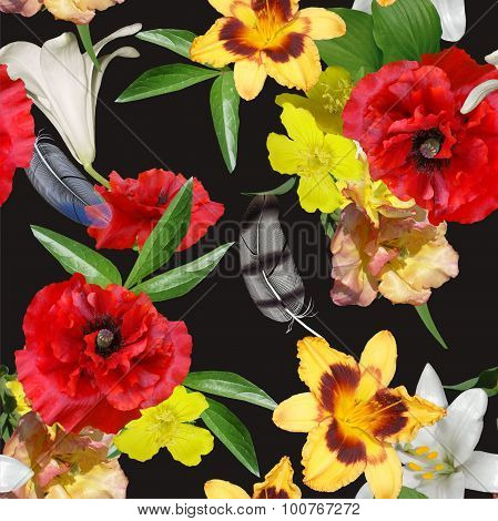 Floral Design Seamles, Bouquets On Black Background