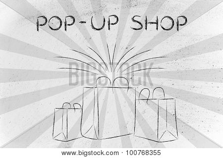 Boutique Shopping Bags With Retro Rays And Text Pop-up Shop