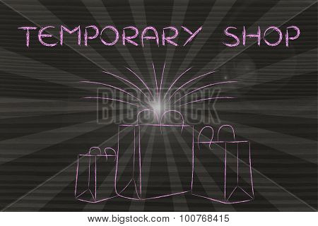 Boutique Shopping Bags With Retro Rays And Text Temporary Shops
