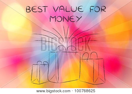 Boutique Shopping Bags With Retro Rays And Text Best Value For Money