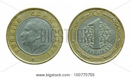Turkish One Lira Coins Isolated On White