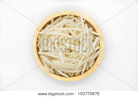 Bean Sprouts on round wooden bowl on white background,  top view