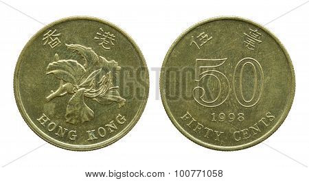 Hong Kong Fifty Cent Coins Isolated On White