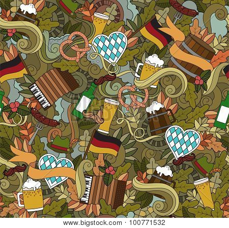 Oktoberfest Cartoon vector hand-drawn Doodle on the subject of beer fest autumn symbols, food and dr
