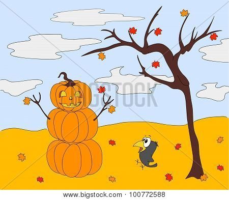 Pumpkin Snowman With A Kind Face Standing Under An Autumn Tree On Halloween. Surprised Crow Sitting