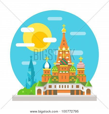 Saint Basil's Cathedral Flat Design Landmark