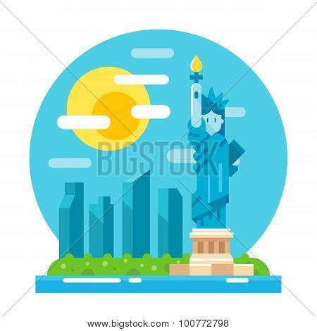 Liberty Statue Flat Design Landmark