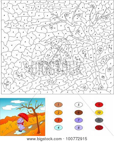 Color By Number Educational Game For Kids. Purple Dragon Walks With Red Umbrella In An Autumn Park.