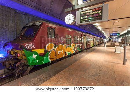 Graffiti Train In Antwerp, Belgium