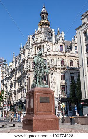 Statue Of Famous Belgian Artist David Teniers In Antwerp