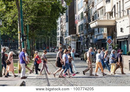 People Crossing City Street In Antwerp, Belgium