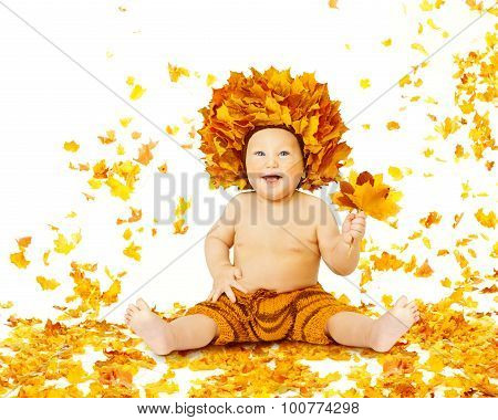 Autumn Baby, Little Kid Sitting In Fall Leaves, Child Boy In Yellow Crown With Maple Leaf, On White