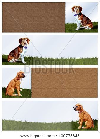 4 Dog Banners