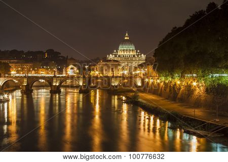 St. Peter's Basilica, Vatican City, by night