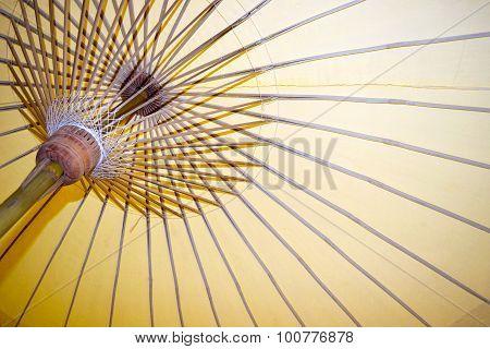 Abstract Paper umbrella and umbrella bamboo frame