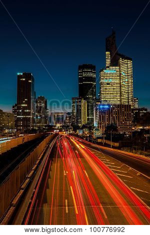 Neuilly city, France-5 September 2015: The Business District La Defense At Night, Paris, France