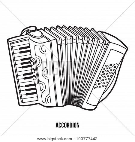 Coloring Book For Children: Musical Instruments (accordion)