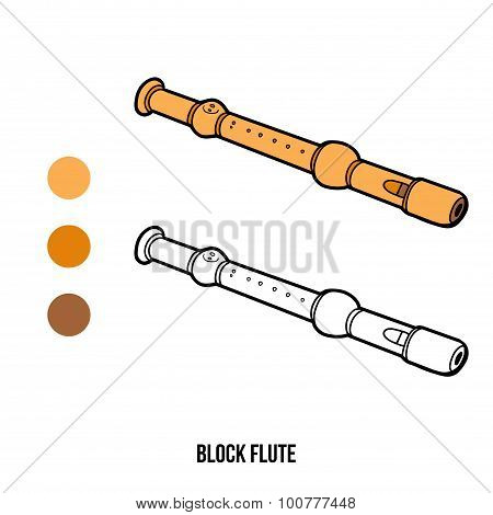 Coloring Book For Children: Musical Instruments (block Flute)