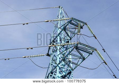 Upper part of electric power transmission line, Sofia, Bulgaria