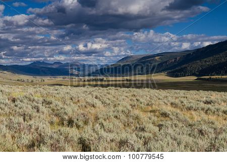 Panorama Of Lamar Valley, Yellowstone National Park