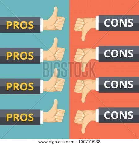 Hands with thumbs up and thumbs down. Pros and cons concept