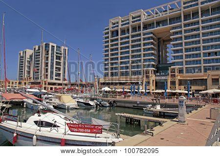 Yacht, Promenade And Ritz-carlton Hotel In Herzliya Marina, Israel.