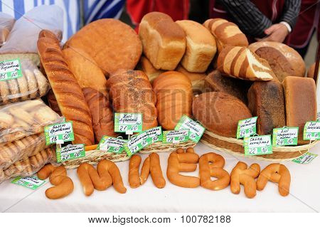 Orel, Russia, September 5, 2015: Various Artisan Pastry For Sale In City Fair