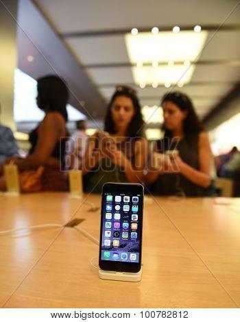 Apple smart phone on display