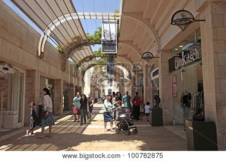 People At Modern Mamilla Shopping Mall  In Jerusalem, Israel.