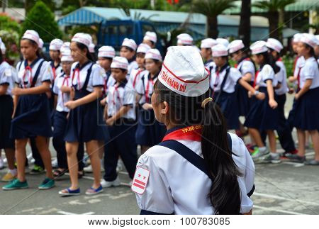 Saigon, Vietnam - March 8, 2015. Unidentified Children In Uniform During The Year-end Party In A Kid