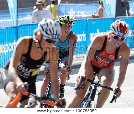 Triathlete Claire Michel (bel) Behind Competitors Cycling