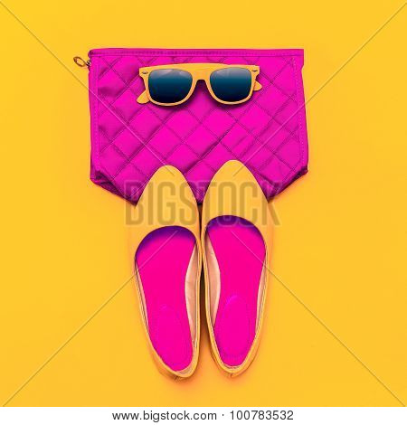 Fashion Ladies' Accessories. Sunglasses, Clutch And Shoes. Bright Style