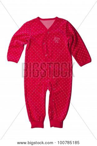 Red Rompers With Polka Dots.