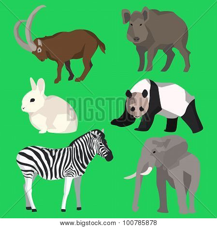 Set animals goat, wild boar, panda, rabbit, zebra, ele, animals