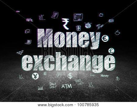 Banking concept: Money Exchange in grunge dark room