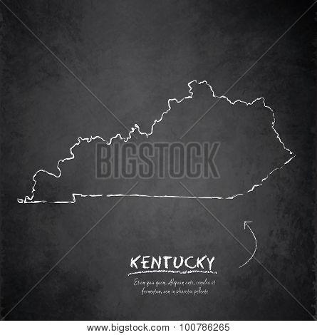 Kentucky map blackboard chalkboard vector