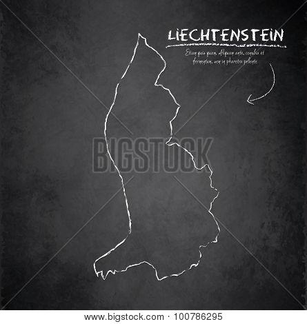 Liechtenstein map blackboard chalkboard vector