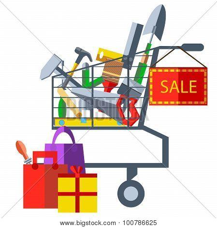 Sales of building materials hammer, saw, shovel, trowel