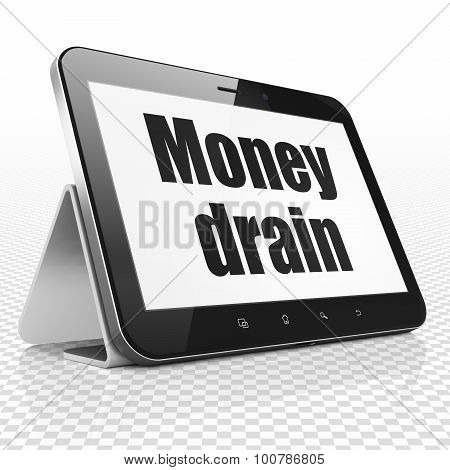 Banking concept: Tablet Computer with Money Drain on display