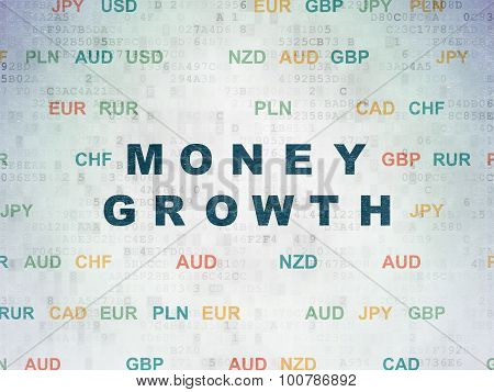 Currency concept: Money Growth on Digital Paper background
