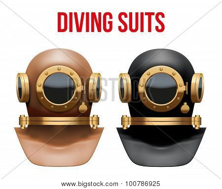 Set of Underwater diving suit helmet.